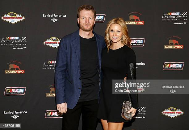 Sprint Cup driver Dale Earnhardt Jr and girlfriend Amy Reimann pose for a picture at the NASCAR Evening Series Presented by Bank of America at...