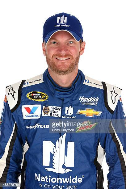Sprint Cup driver Dale Earnhardt Jr poses for a portrait during the 2015 NASCAR Media Day at Daytona International Speedway on February 12 2015 in...