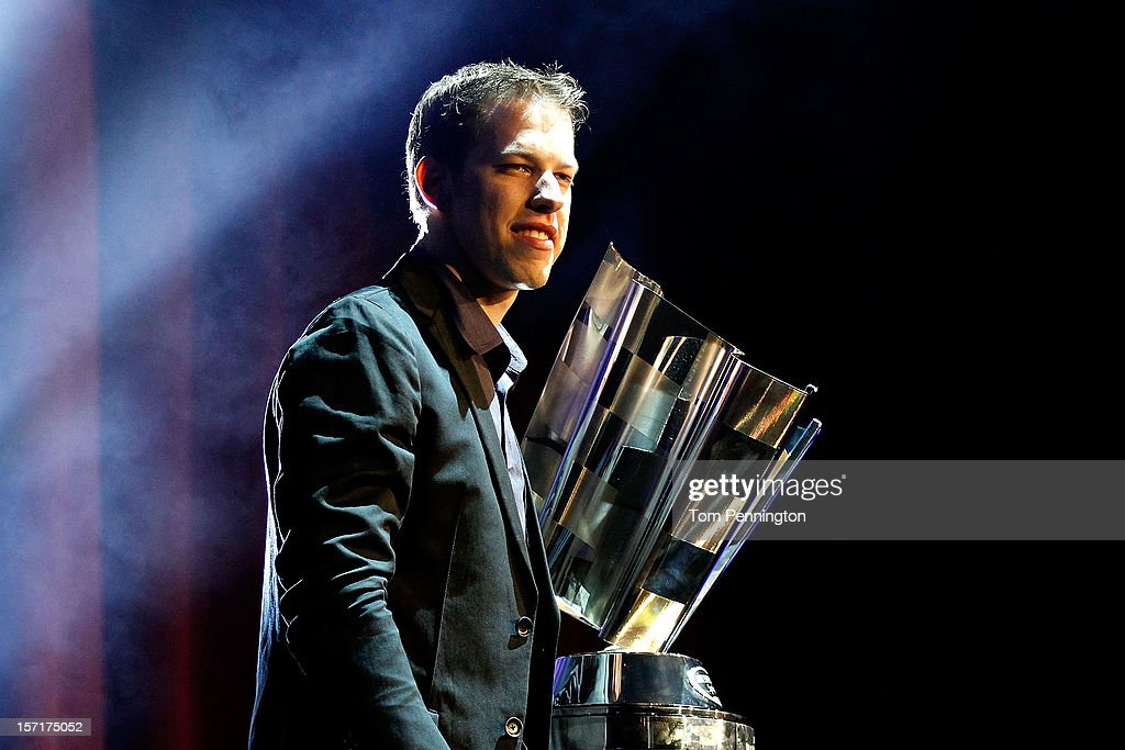 Sprint Cup Series Champion <a gi-track='captionPersonalityLinkClicked' href=/galleries/search?phrase=Brad+Keselowski&family=editorial&specificpeople=890258 ng-click='$event.stopPropagation()'>Brad Keselowski</a>, driver of the #2 Miller Lite Dodge, stands on stage with the Sprint Cup Championship trophy during NASCAR After The Lap at PH Live at Planet Hollywood Resort & Casino on November 29, 2012 in Las Vegas, Nevada.