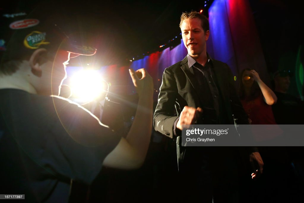 Sprint Cup Series Champion Brad Keselowski, driver of the #2 Miller Lite Dodge, greets fans as he makes his way to the stage during NASCAR After The Lap at PH Live at Planet Hollywood Resort & Casino on November 29, 2012 in Las Vegas, Nevada.