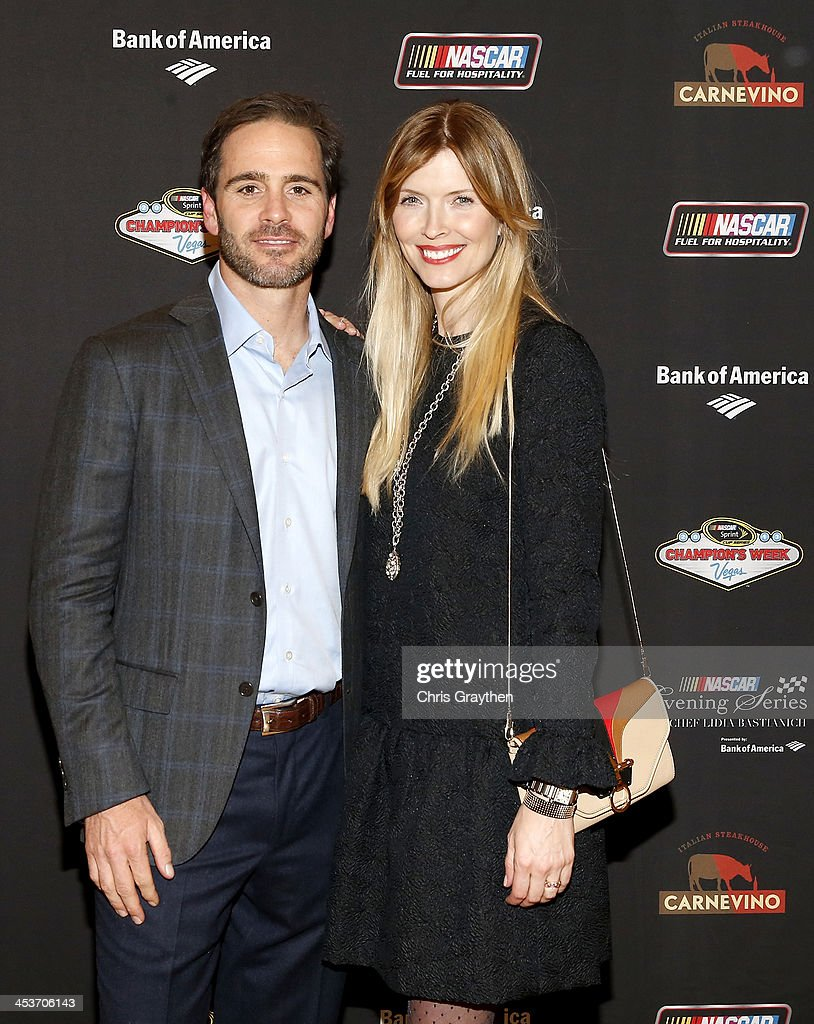 Sprint Cup series champion Jimmie Johnson and wife <a gi-track='captionPersonalityLinkClicked' href=/galleries/search?phrase=Chandra+Johnson&family=editorial&specificpeople=811890 ng-click='$event.stopPropagation()'>Chandra Johnson</a> pose for a picture at the NASCAR Evening Series Presented by Bank of America at Carnevino at The Palazzo Las Vegas on December 4, 2013 in Las Vegas, Nevada.