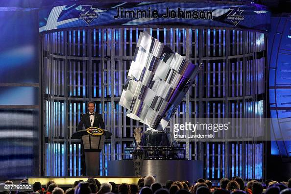 Sprint Cup Series Champion Jimmie Johnson speaks during the 2016 NASCAR Sprint Cup Series Awards show at Wynn Las Vegas on December 2 2016 in Las...