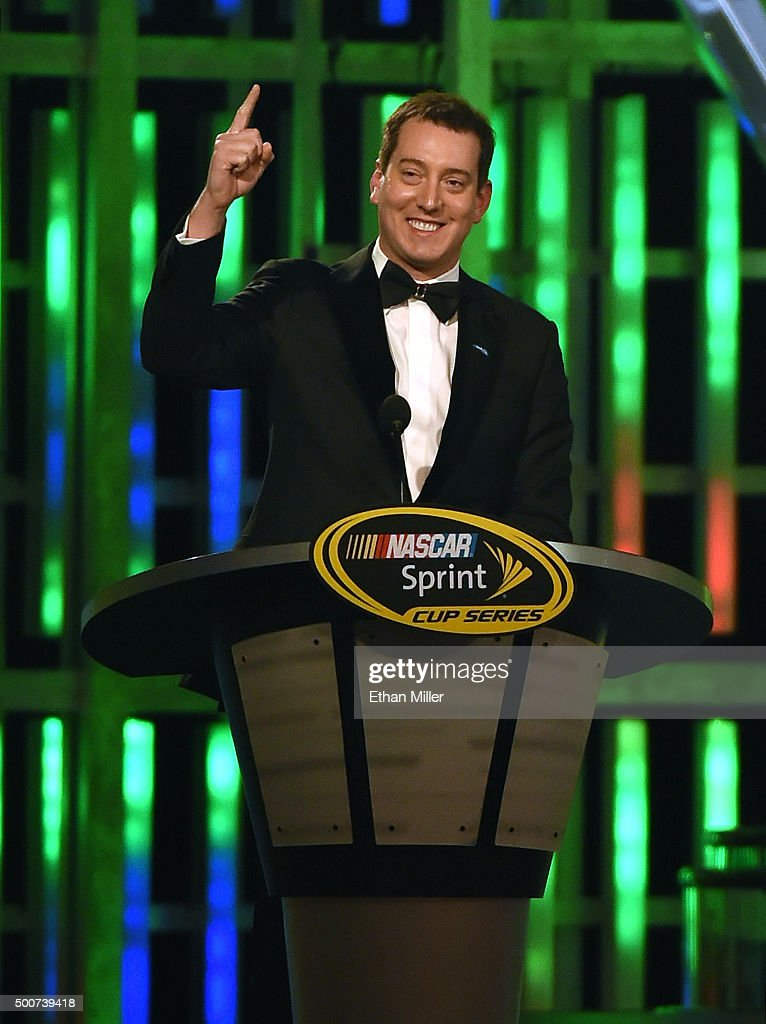 Sprint Cup Series champion <a gi-track='captionPersonalityLinkClicked' href=/galleries/search?phrase=Kyle+Busch&family=editorial&specificpeople=211123 ng-click='$event.stopPropagation()'>Kyle Busch</a> speaks during the 2015 NASCAR Sprint Cup Series Awards show at Wynn Las Vegas on December 4, 2015 in Las Vegas, Nevada.