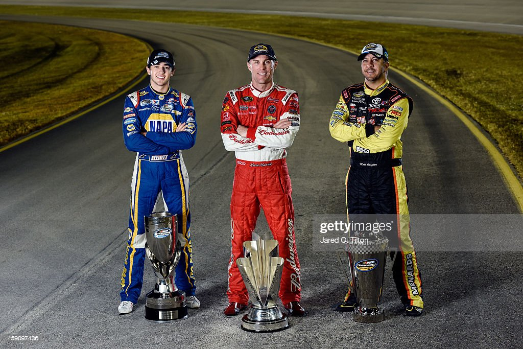 Sprint Cup Series Championship winner Kevin Harvick driver of the Budweiser Chevrolet Nationwide Series Championship winner Chase Elliott driver of...