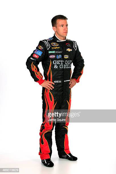 Sprint Cup Series driver AJ Allmendinger poses for a portrait during the 2014 NASCAR Media Day at Daytona International Speedway on February 13 2014...