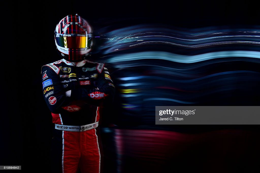 Sprint Cup Series driver Austin Dillon poses for a portrait during NASCAR Media Day at Daytona International Speedway on February 16 2016 in Daytona...