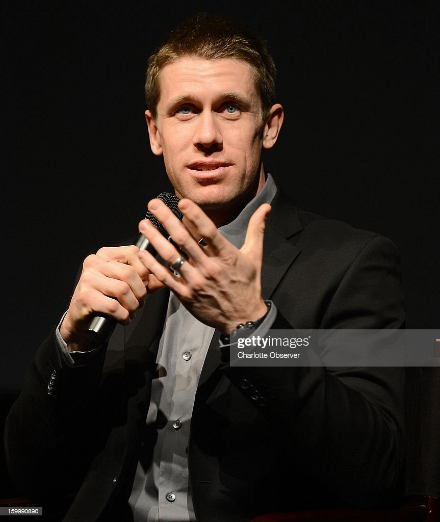 Sprint Cup Series driver Carl Edwards answers a question during the Sprint NASCAR Media Tour on Thursday, January 24, 2013, at the NASCAR Hall of Fame in Charlotte, North Carolina.