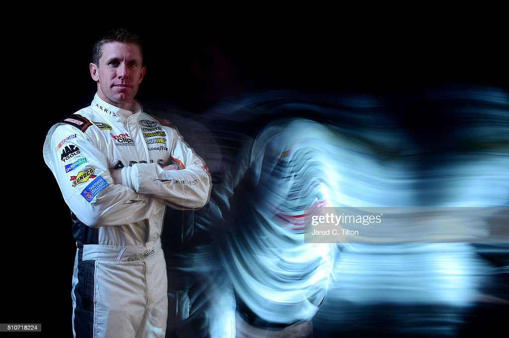 Sprint Cup Series driver <a gi-track='captionPersonalityLinkClicked' href=/galleries/search?phrase=Carl+Edwards&family=editorial&specificpeople=193803 ng-click='$event.stopPropagation()'>Carl Edwards</a> poses for a portrait during NASCAR Media Day at Daytona International Speedway on February 16, 2016 in Daytona Beach, Florida.