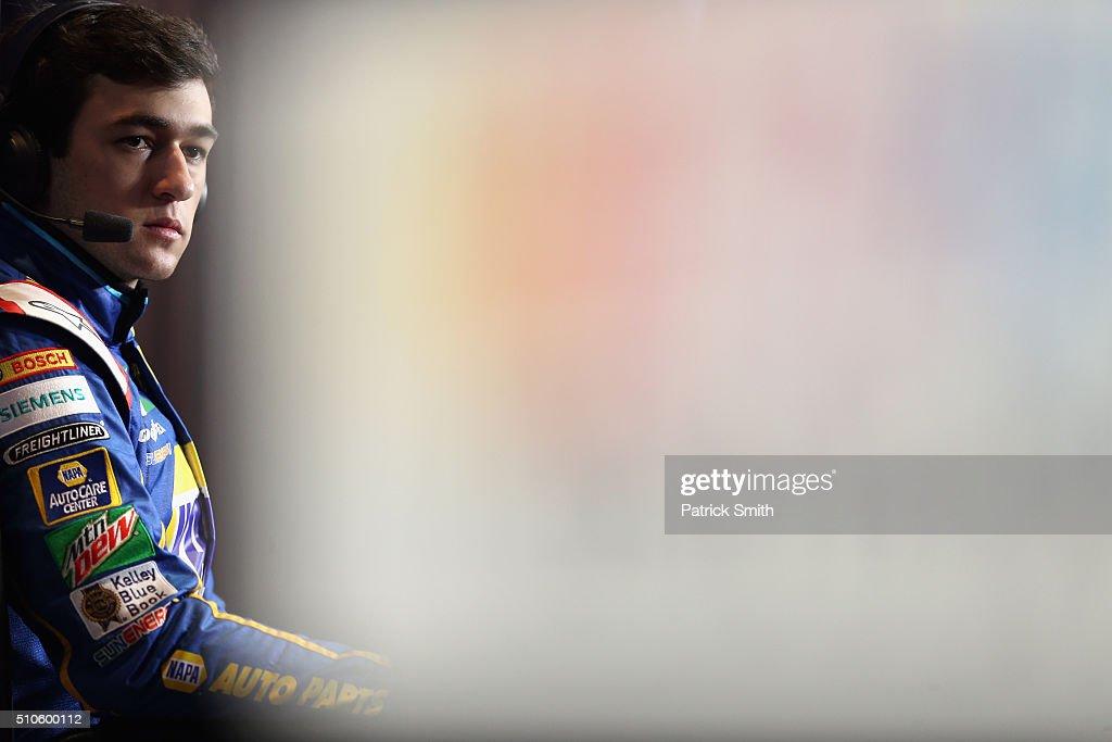 Sprint Cup Series driver Chase Elliott looks on during NASCAR Media Day at Daytona International Speedway on February 16 2016 in Daytona Beach Florida