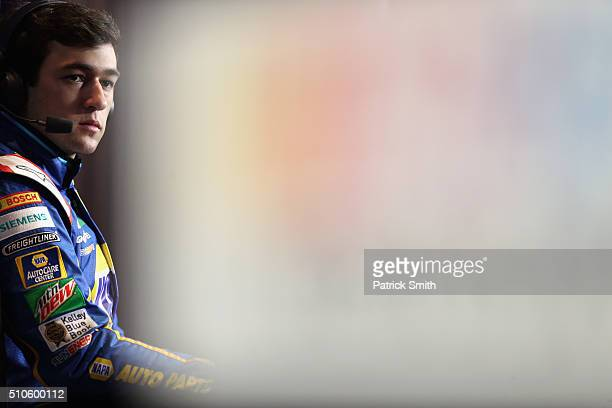 Sprint Cup Series driver Chase Elliott looks on during NASCAR Media Day at Daytona International Speedway on February 16 2016 in Daytona Beach Florida