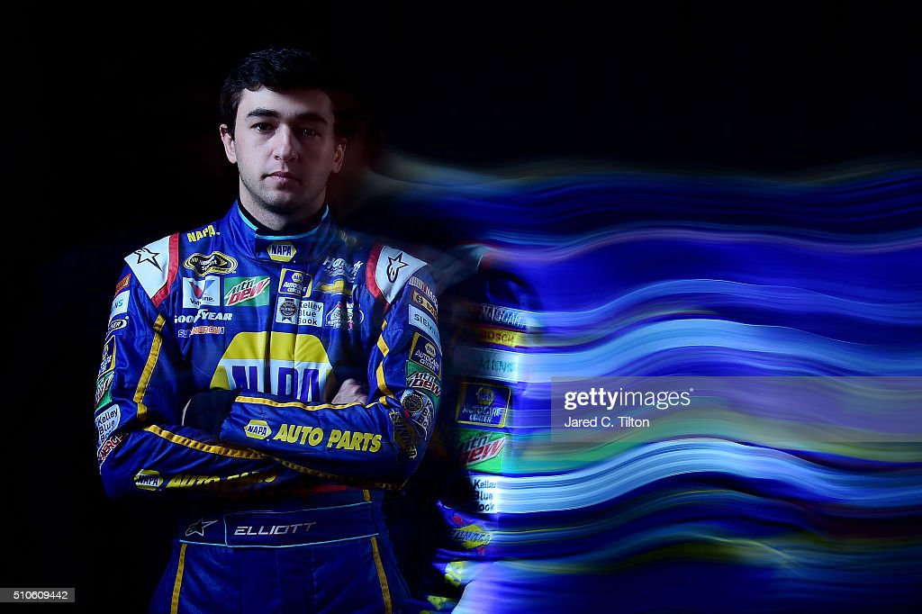 Sprint Cup Series Driver Chase Elliott poses for a portrait during NASCAR Media Day at Daytona International Speedway on February 16, 2016 in Daytona Beach, Florida.