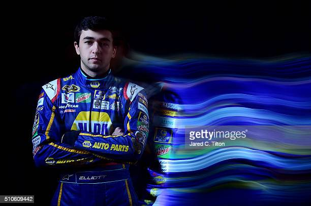 Sprint Cup Series Driver Chase Elliott poses for a portrait during NASCAR Media Day at Daytona International Speedway on February 16 2016 in Daytona...
