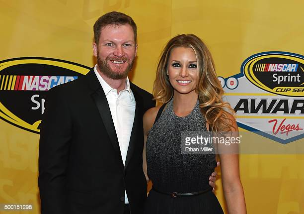 Sprint Cup Series driver Dale Earnhardt Jr and his fiancee Amy Reimann attend the 2015 NASCAR Sprint Cup Series Awards at Wynn Las Vegas on December...