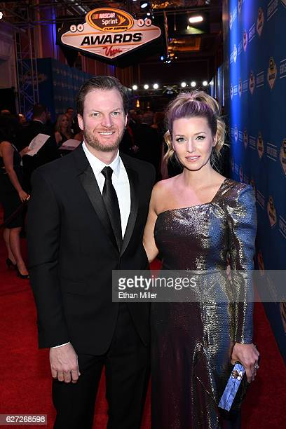 Sprint Cup Series driver Dale Earnhardt Jr and his fiancee Amy Reimann attend the 2016 NASCAR Sprint Cup Series Awards at Wynn Las Vegas on December...