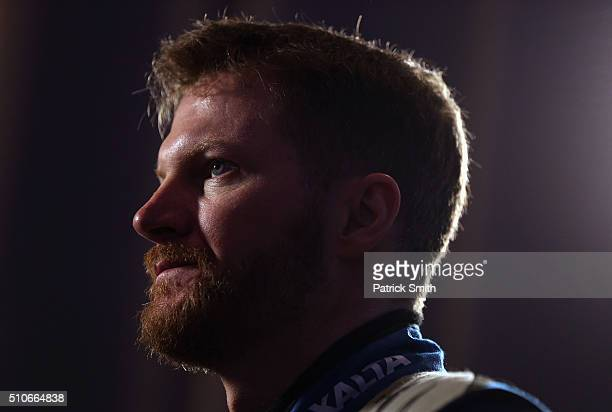 Sprint Cup Series driver Dale Earnhardt Jr looks on during NASCAR Media Day at Daytona International Speedway on February 16 2016 in Daytona Beach...