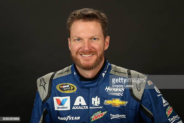 Sprint Cup Series driver Dale Earnhardt Jr poses for a portrait during day 3 of the 2016 Charlotte Motor Speedway Media Tour at NASCAR Hall of Fame...