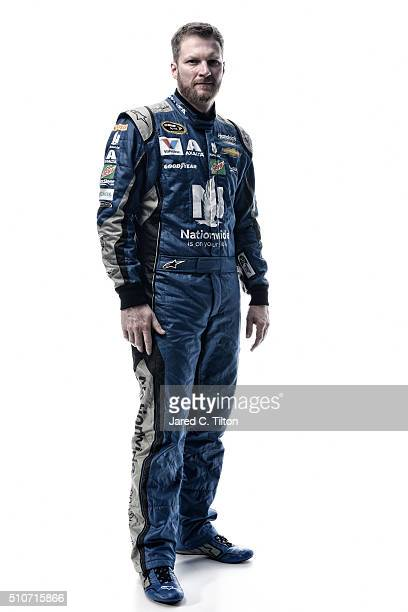 NASCAR Sprint Cup Series driver Dale Earnhardt Jr poses for a portrait during NASCAR Media Day at Daytona International Speedway on February 16 2016...