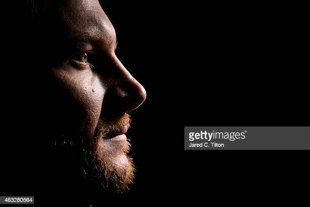 Sprint Cup Series driver Dale Earnhardt Jr poses for a portrait during the 2015 NASCAR Media Day at Daytona International Speedway on February 12...