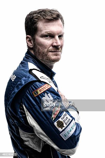 NASCAR Sprint Cup Series driver Dale Earnhardt Jr poses for a portrait during the 2015 NASCAR Media Day at Daytona International Speedway on February...