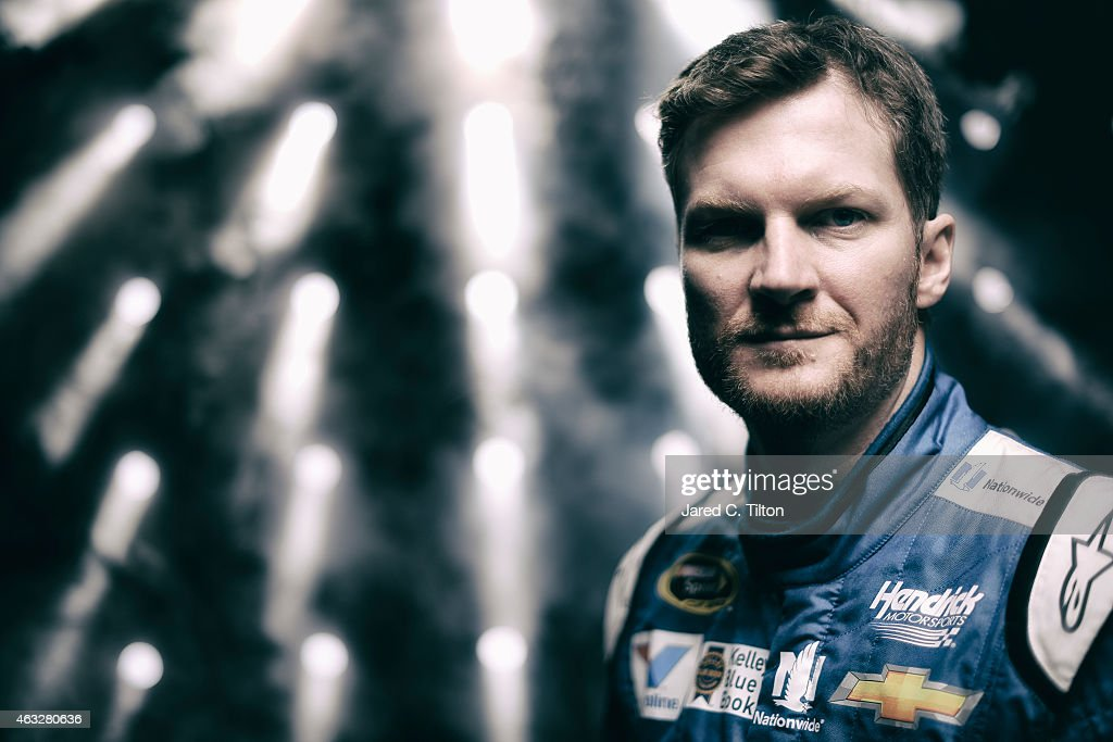 Sprint Cup Series driver <a gi-track='captionPersonalityLinkClicked' href=/galleries/search?phrase=Dale+Earnhardt+Jr.&family=editorial&specificpeople=171293 ng-click='$event.stopPropagation()'>Dale Earnhardt Jr.</a> poses for a portrait during the 2015 NASCAR Media Day at Daytona International Speedway on February 12, 2015 in Daytona Beach, Florida.