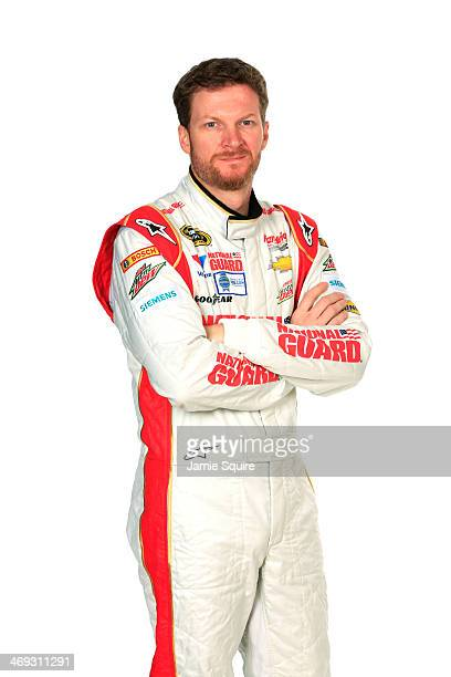 Sprint Cup Series driver Dale Earnhardt Jr poses for a portrait during the 2014 NASCAR Media Day at Daytona International Speedway on February 13...