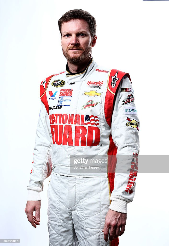 Sprint Cup Series driver <a gi-track='captionPersonalityLinkClicked' href=/galleries/search?phrase=Dale+Earnhardt+Jr.&family=editorial&specificpeople=171293 ng-click='$event.stopPropagation()'>Dale Earnhardt Jr.</a> poses for a stylized portrait during the 2014 NASCAR Media Day at Daytona International Speedway on February 13, 2014 in Daytona Beach, Florida.
