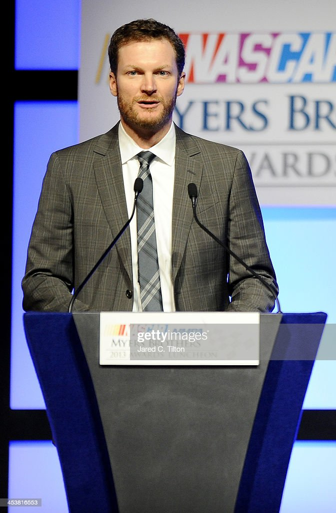 Sprint Cup Series driver <a gi-track='captionPersonalityLinkClicked' href=/galleries/search?phrase=Dale+Earnhardt+Jr.&family=editorial&specificpeople=171293 ng-click='$event.stopPropagation()'>Dale Earnhardt Jr.</a> speaks onstage after winning the Most Popular Driver at the NMPA Myers Brothers Awards Luncheon at the Encore Las Vegas on December 5, 2013 in Las Vegas, Nevada.