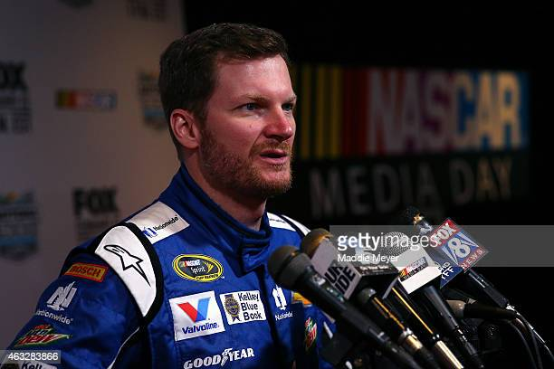 Sprint Cup Series driver Dale Earnhardt Jr speaks to the media during the 2015 NASCAR Media Day at Daytona International Speedway on February 12 2015...