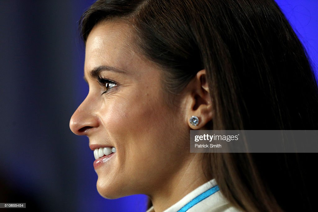 Sprint Cup Series driver Danica Patrick is interviewed during NASCAR Media Day at Daytona International Speedway on February 16 2016 in Daytona Beach...