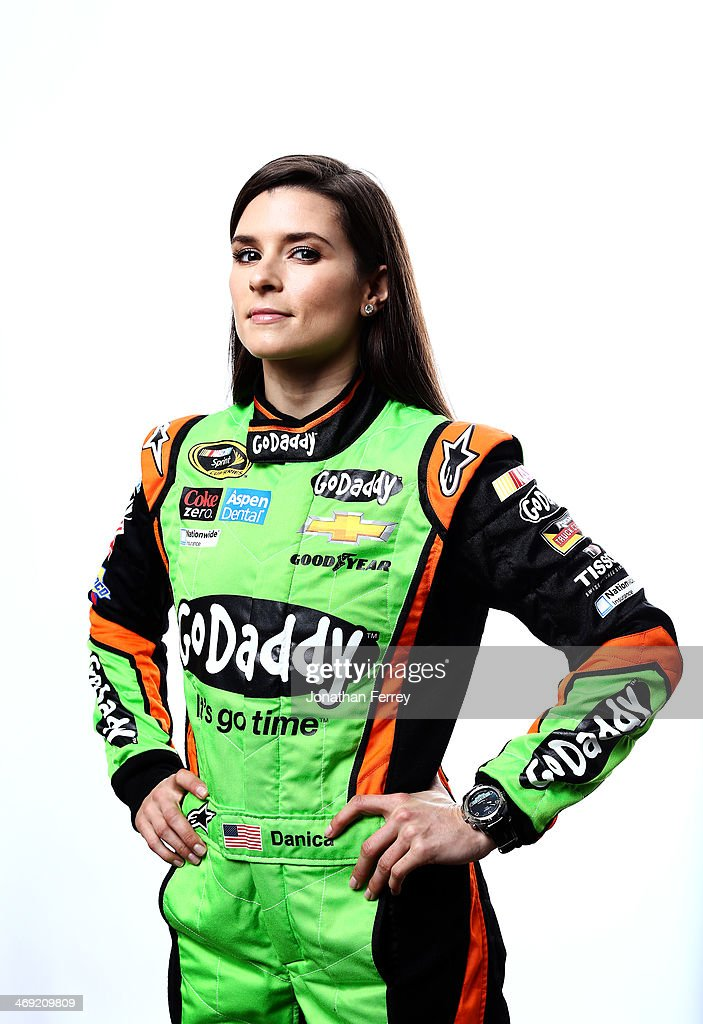 Sprint Cup Series driver <a gi-track='captionPersonalityLinkClicked' href=/galleries/search?phrase=Danica+Patrick&family=editorial&specificpeople=183352 ng-click='$event.stopPropagation()'>Danica Patrick</a> poses for a stylized portrait during the 2014 NASCAR Media Day at Daytona International Speedway on February 13, 2014 in Daytona Beach, Florida.