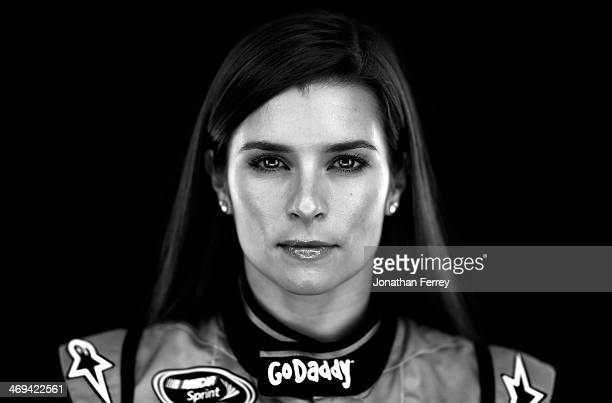 NASCAR Sprint Cup Series driver Danica Patrick poses for a stylized portrait during the 2014 NASCAR Media Day at Daytona International Speedway on...