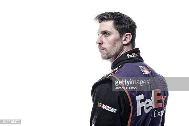 NASCAR Sprint Cup Series driver Denny Hamlin poses for a portrait during NASCAR Media Day at Daytona International Speedway on February 16 2016 in...