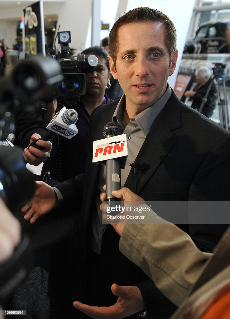 Sprint Cup Series driver Greg Biffle answers questions during a break out session in the Sprint NASCAR Media Tour on Thursday, January 24, 2013, at the NASCAR Hall of Fame in Charlotte, North Carolina.