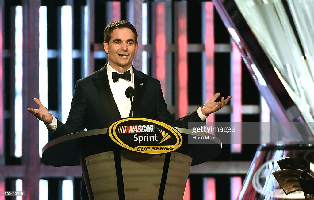 Sprint Cup Series driver <a gi-track='captionPersonalityLinkClicked' href=/galleries/search?phrase=Jeff+Gordon&family=editorial&specificpeople=171491 ng-click='$event.stopPropagation()'>Jeff Gordon</a> accepts the Bill France Award of Excellence during the 2015 NASCAR Sprint Cup Series Awards show at Wynn Las Vegas on December 4, 2015 in Las Vegas, Nevada.