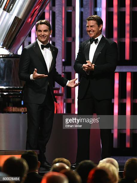 Sprint Cup Series driver Jeff Gordon is introduced by actor Tom Cruise to accept the Bill France Award of Excellence during the 2015 NASCAR Sprint...