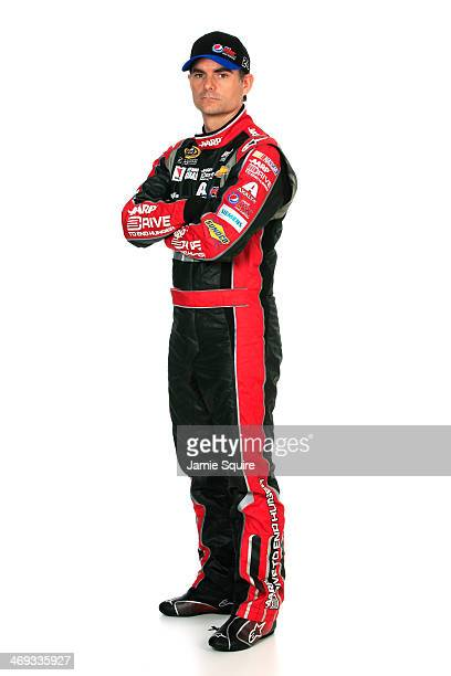 Sprint Cup Series driver Jeff Gordon poses for a portrait during the 2014 NASCAR Media Day at Daytona International Speedway on February 13 2014 in...