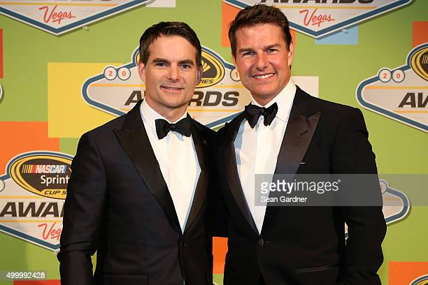 Sprint Cup Series driver Jeff Gordon poses with actor Tom Cruise during the 2015 NASCAR Sprint Cup Series Awards show at Wynn Las Vegas on December 4...