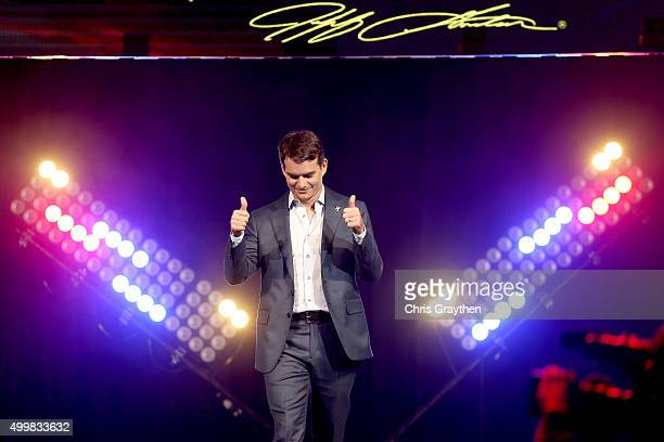 Sprint Cup Series driver Jeff Gordon reacts as he is honored during the NASCAR After The Lap at the Palms Casino Resort on December 3 2015 in Las...