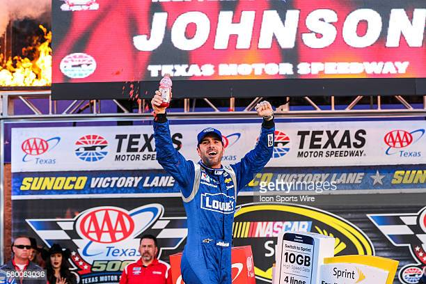 Sprint Cup Series driver Jimmie Johnson celebrates in victory lane after winning the NASCAR Sprint Cup Series AAA Texas 500 at Texas Motor Speedway...