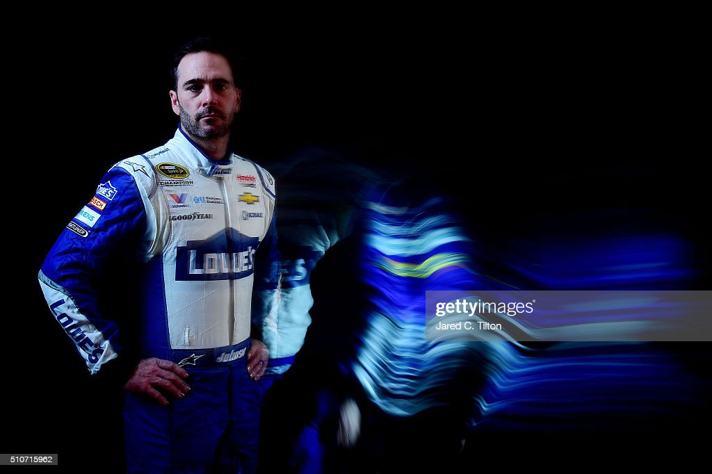 Sprint Cup Series driver Jimmie Johnson poses for a portrait during NASCAR Media Day at Daytona International Speedway on February 16, 2016 in Daytona Beach, Florida.