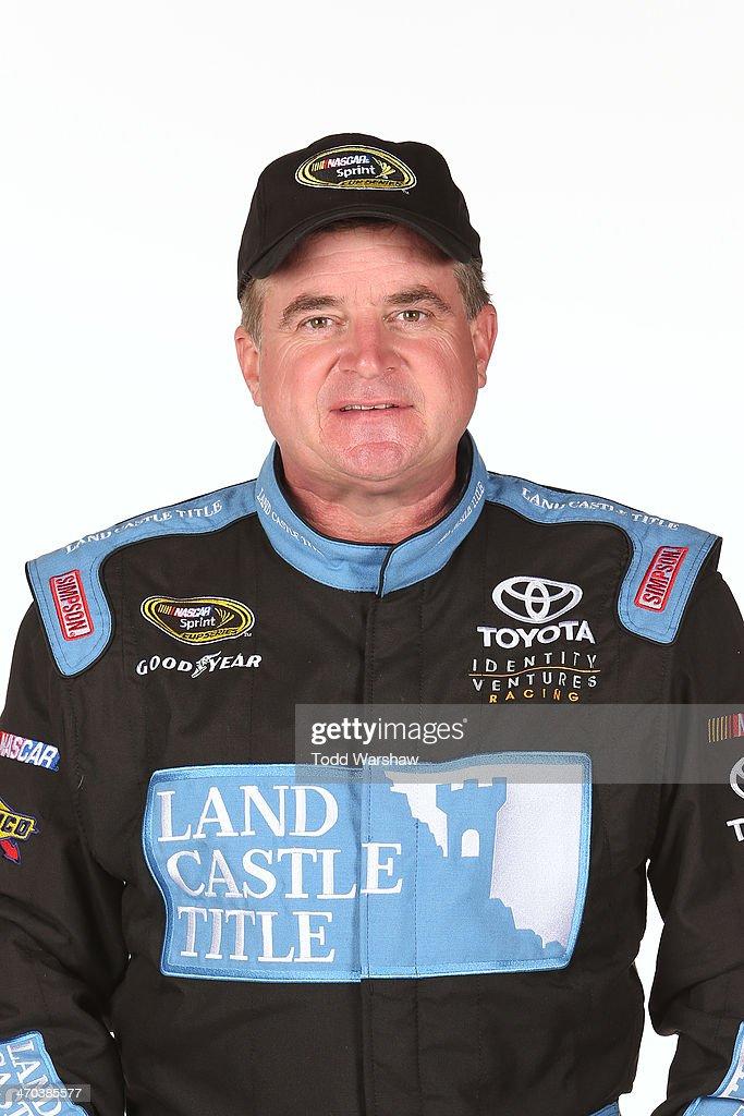 Sprint Cup series driver Joe Nemechek poses for a portrait at Daytona International Speedway on February 19 2014 in Daytona Beach Florida