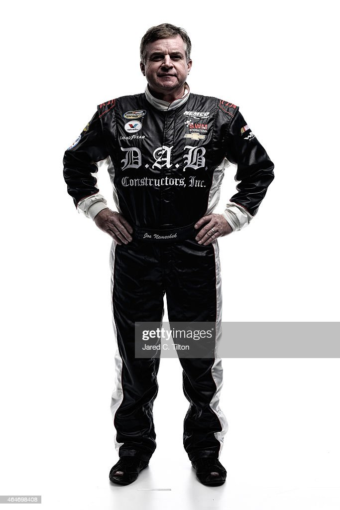 NASCAR Sprint Cup Series driver Joe Nemechek poses for a portrait during the 2015 NASCAR Media Day at Daytona International Speedway on February 12...