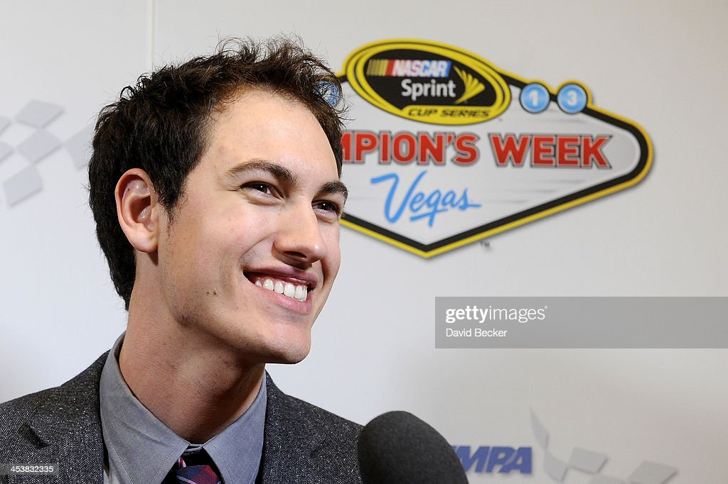 Sprint Cup Series driver <a gi-track='captionPersonalityLinkClicked' href=/galleries/search?phrase=Joey+Logano&family=editorial&specificpeople=4510426 ng-click='$event.stopPropagation()'>Joey Logano</a> answers questions from the media after the NMPA Myers Brothers Awards Luncheon at the Encore Las Vegas on December 5, 2013 in Las Vegas, Nevada.