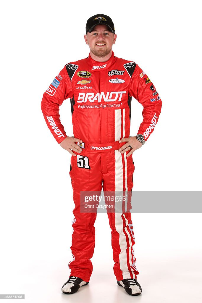 Sprint Cup Series driver Justin Allgaier poses for a portrait during the 2015 NASCAR Media Day at Daytona International Speedway on February 12 2015...