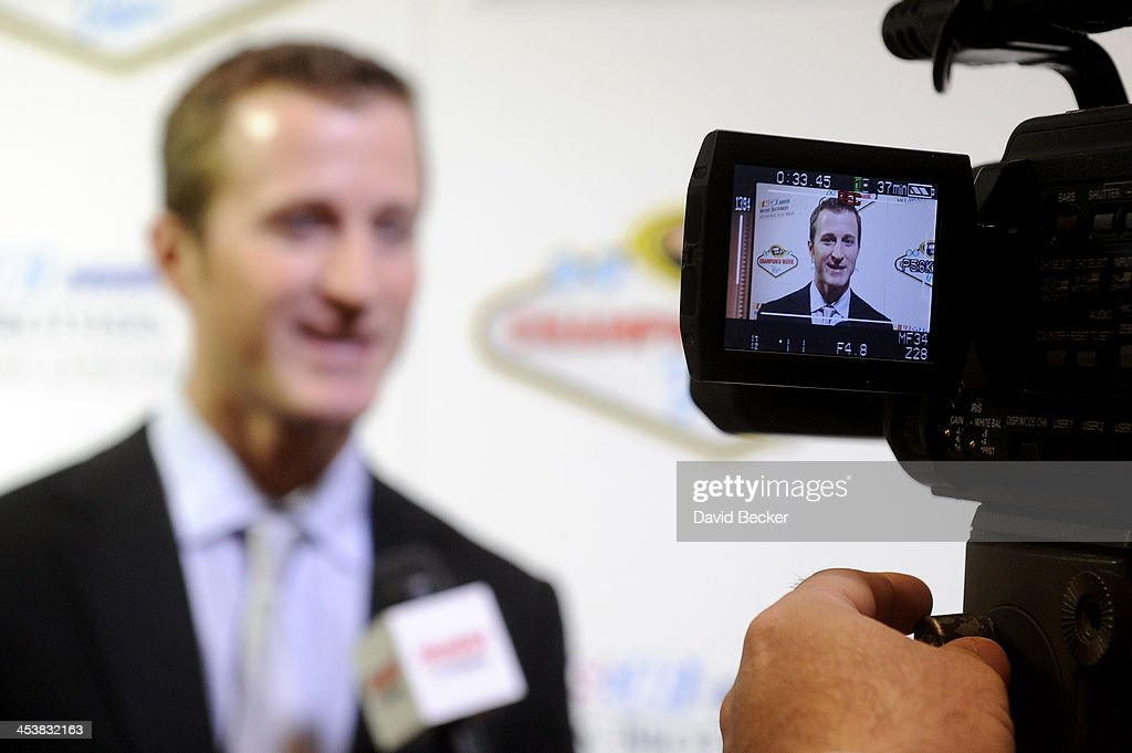 Sprint Cup Series driver <a gi-track='captionPersonalityLinkClicked' href=/galleries/search?phrase=Kasey+Kahne&family=editorial&specificpeople=183374 ng-click='$event.stopPropagation()'>Kasey Kahne</a> answers questions from the media after the NMPA Myers Brothers Awards Luncheon at the Encore Las Vegas on December 5, 2013 in Las Vegas, Nevada.