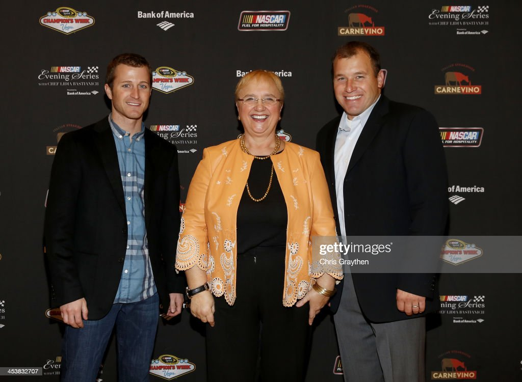 Sprint Cup Series driver <a gi-track='captionPersonalityLinkClicked' href=/galleries/search?phrase=Kasey+Kahne&family=editorial&specificpeople=183374 ng-click='$event.stopPropagation()'>Kasey Kahne</a>, chef <a gi-track='captionPersonalityLinkClicked' href=/galleries/search?phrase=Lidia+Bastianich&family=editorial&specificpeople=4784020 ng-click='$event.stopPropagation()'>Lidia Bastianich</a> and NASCAR Sprint Cup Series driver Ryan Newman pose for a picture at the NASCAR Evening Series Presented by Bank of America at Carnevino at The Palazzo Las Vegas on December 4, 2013 in Las Vegas, Nevada.