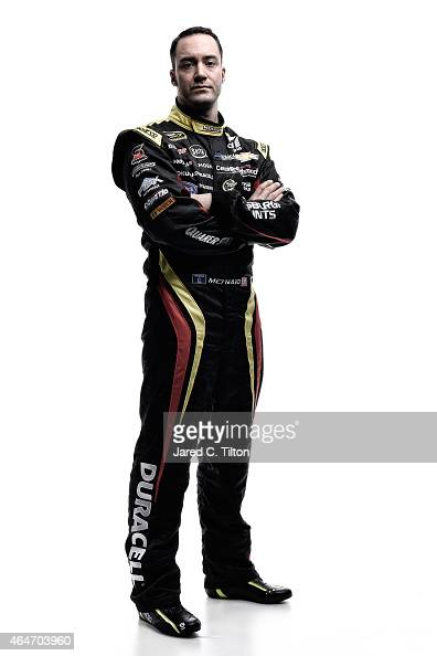 NASCAR Sprint Cup Series driver Paul Menard poses for a portrait during the 2015 NASCAR Media Day at Daytona International Speedway on February 12...