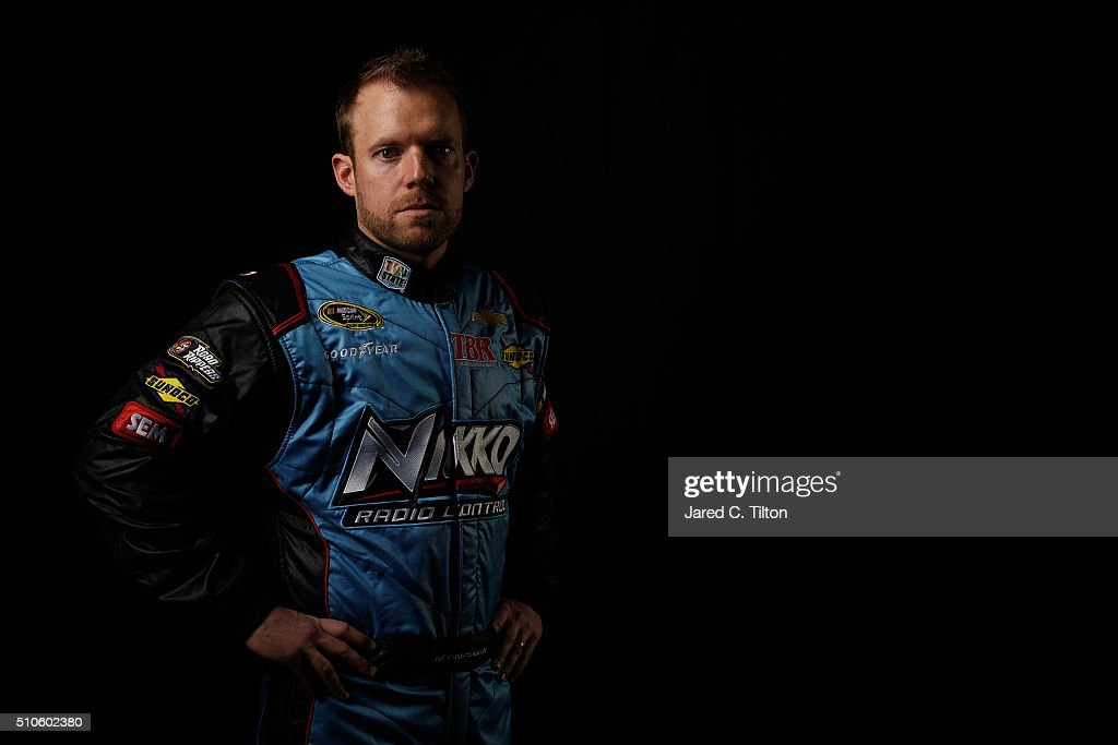 Sprint Cup Series Driver Regan Smith poses for a portrait during NASCAR Media Day at Daytona International Speedway on February 16, 2016 in Daytona Beach, Florida.