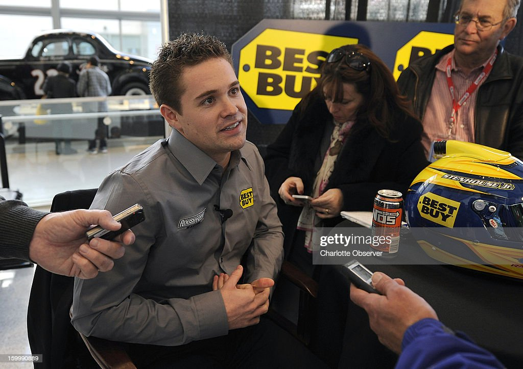 Sprint Cup Series driver Ricky Stenhouse Jr. answers questions from the media during a break out session in the Sprint NASCAR Media Tour on Thursday, January 24, 2013, at the NASCAR Hall of Fame in Charlotte, North Carolina.