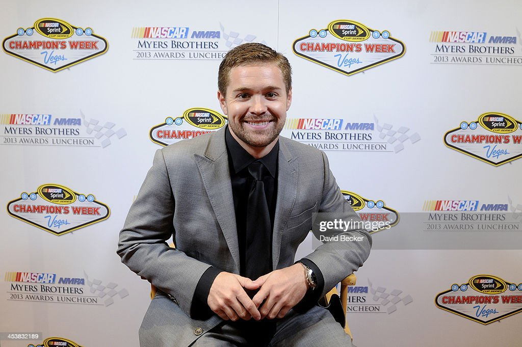 Sprint Cup Series driver <a gi-track='captionPersonalityLinkClicked' href=/galleries/search?phrase=Ricky+Stenhouse+Jr.&family=editorial&specificpeople=5380612 ng-click='$event.stopPropagation()'>Ricky Stenhouse Jr.</a> smiles as he answers questions from the media after the NMPA Myers Brothers Awards Luncheon at the Encore Las Vegas on December 5, 2013 in Las Vegas, Nevada.